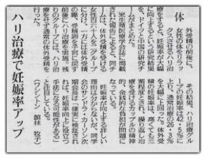 鍼治療の効果の新聞